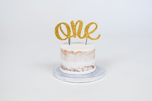 White Frosted Cake Gold Glitter ONE