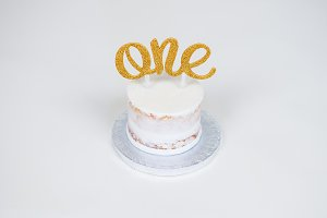 White Naked Frosted Cake Glitter ONE