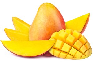 Mango with slices to cubes isolated