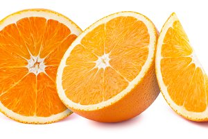 Oranges slices isolated on white