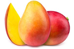 Mangoes with slice isolated
