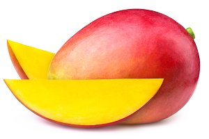Mango with two slices isolated