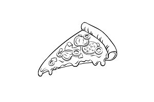 Slice of pizza coloring book vector