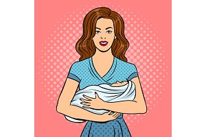 Mother and baby pop art vector illustration