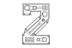Mechanical number 2 engraving vector illustration