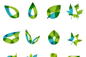 Flat green leaf shapes set