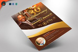 Gold Pastor's Anniversary Flyer