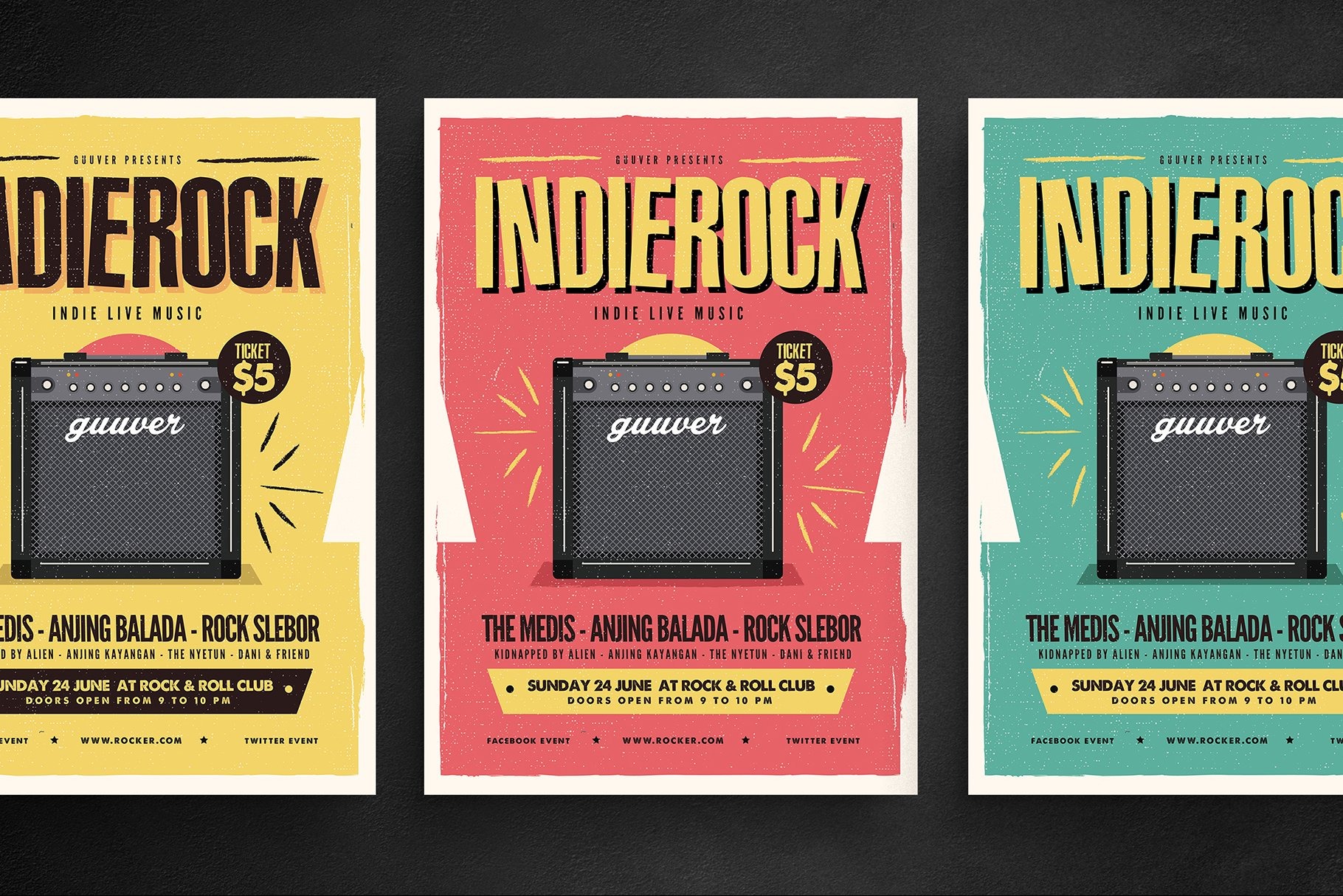 Indie Rock Flyer Flyer Templates Creative Market Pro