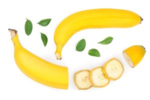 banana sliced with green leaves isolated on white background. Top view. Flat lay