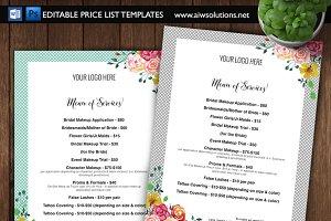 hairstylist price menu salon menu flyer templates creative market