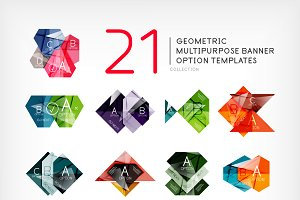 Geometric infographic banners