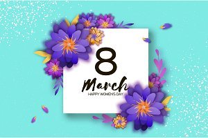 Bright Violet Origami Flowers. Happy Womens Day. 8 March. Trendy Mothers Day. Paper cut Exotic Tropical Floral Greetings card. Spring blossom on blue sky. Square frame. Text. Holidays. Modern decor