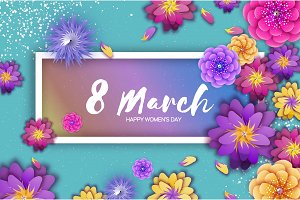 Origami Spring Banner. Paper cut Exotic Tropical Floral Greetings card. Spring blossom. Rectangle frame. Happy Womens Day. 8 March. Text. Seasonal holiday. Trendy decor.