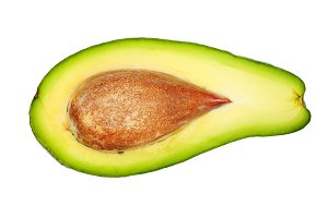half avocado isolated on white background close-up