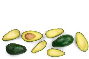 whole and half avocado isolated on white background with copy space for your text. Top view. Flat lay