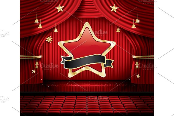 Red Stage Curtain With Star