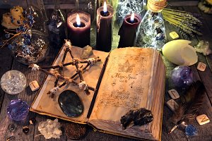 Witch book and pentagram