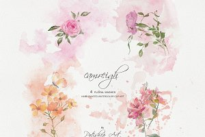 Watercolor Floral Washes Set