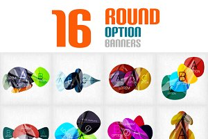Round option banners set