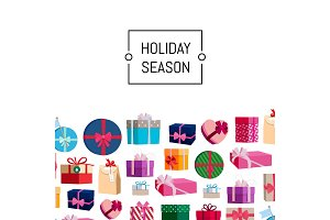 Vector gift boxes or packages background illustration