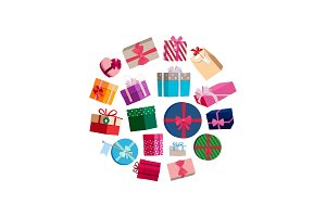 Vector gift packages and boxes with colorful wrapping round illustration