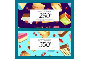 Vector gift cards, discounts or vouchers
