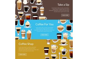 Vector coffee shop horizontal banner templates