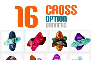 Cross option infographic banners