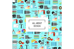 Vector digital art design icons background with place for text