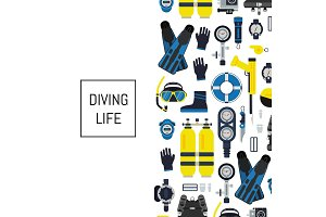 Vector underwater diving equipment illustration in flat style