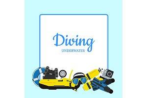 Vector underwater diving elements