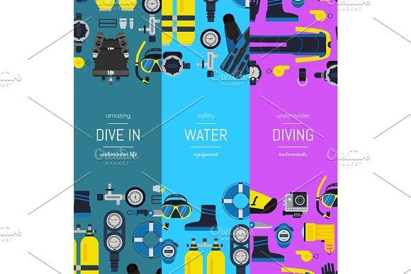 Vector Underwater Diving Vertical Banner Templates