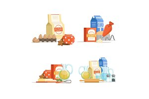 Vector cartoon cooking ingridients or groceries pile