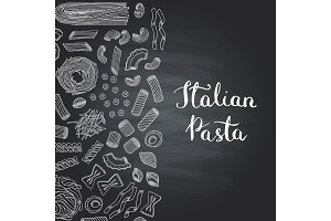 Vector hand drawn pasta types on chalkboard