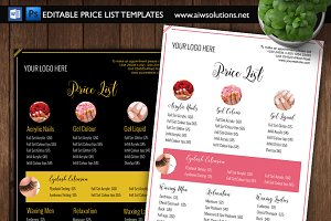Modern salon price list template flyer templates creative market nail salon pricing list id01 maxwellsz