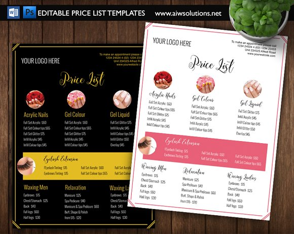 Nail Salon Pricing List Id01 Stationery