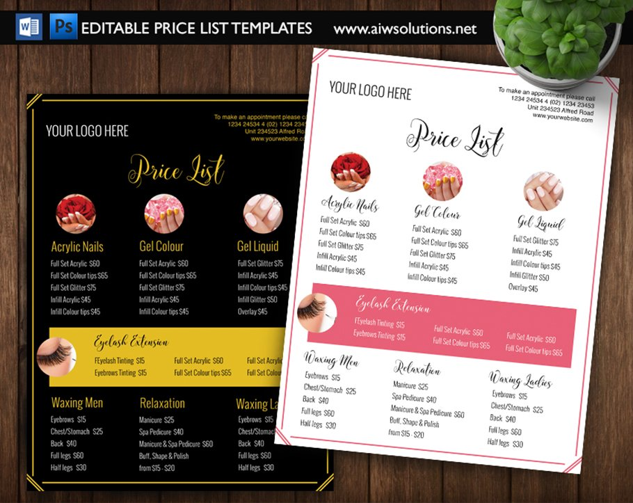 nail salon pricing list id01 stationery templates. Black Bedroom Furniture Sets. Home Design Ideas