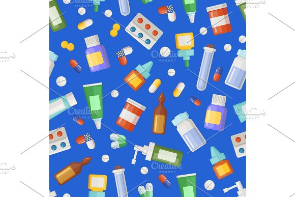 Vector pharmacy medicines, pills and potions pattern or background