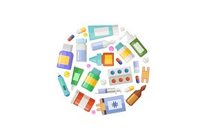 Vector pharmacy or medicines circle concept