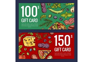 Vector pizza restaurant or shop giftcard or discount templates