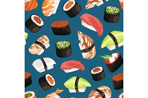 Vector cartoon sushi types pattern