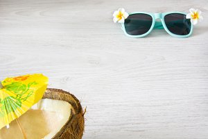 coconut and sunglasses