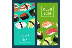 Vector cartoon sushi vertical banner templates