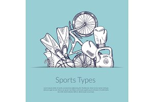 Vector hand drawn sports equipment