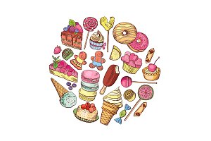 Vector hand drawn types of sweets circle concept