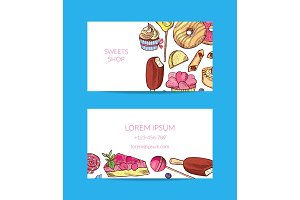 Vector hand drawn sweets or pastry shop business card template