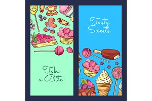 Vector hand drawn sweets vertical banner templates