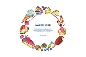 Vector hand drawn sweets circle concept