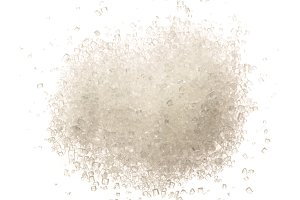 Heap of granulated sugar isolated on white background. Top view. Flat lay