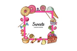 Vector frame with place for text hand drawn sweets